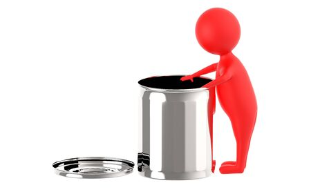 3d red character putting waste in a waste bin - 3d rendering Фото со стока