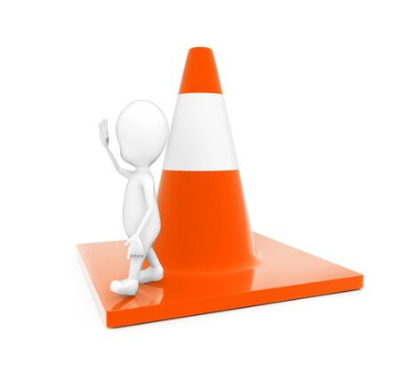 3d man showing stop gesture by his hand while standing on a large traffic cone concept in white isolated background - 3d rendering , side angle view