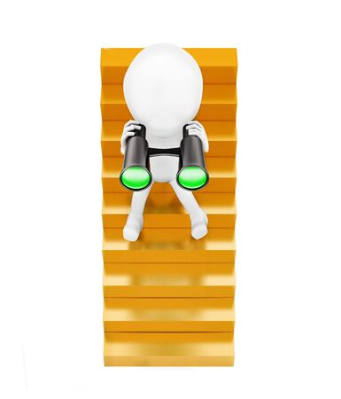 3d man sitting on stairs and looking through binocular concept in white isolated background - 3d rendering , top angle view