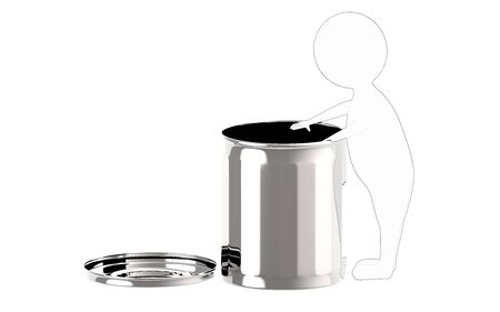 3d white - black outer lined character putting waste in a waste bin - 3d rendering