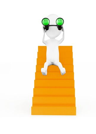 3d man sitting on stairs and looking through binocular concept in white isolated background - 3d rendering , front angle view