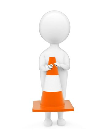 3d man holding traffic cone concept in white isolated background - 3d rendering ,  front angle view