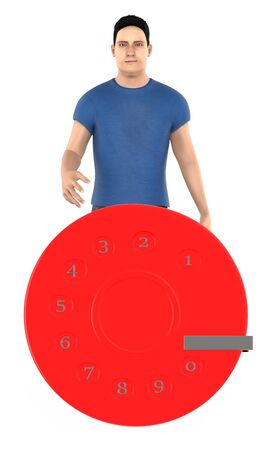 3d character , man and a dialer - 3d rendering