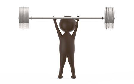 3d brown character lifting weights -3d rendering Stock fotó - 134044696