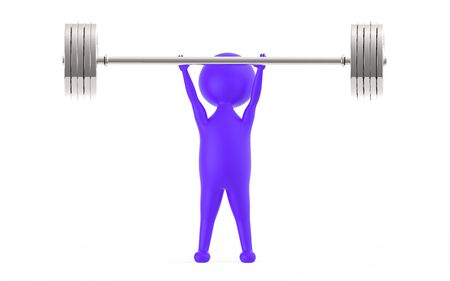 3d purple character lifting weights -3d rendering
