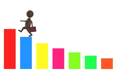 3d brown character holding a briefcase and wallking on the top of a increasng statitics bar graph -3d rendering