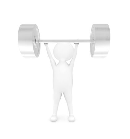3d man weightlifting in white isolated background - 3d rendering , front angle view