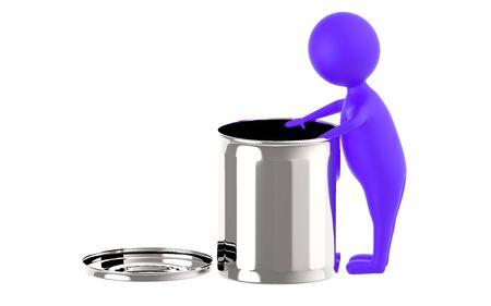 3d purple character putting waste in a waste bin - 3d rendering