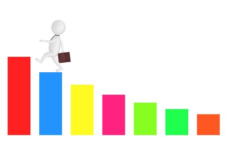 3d white character holding a briefcase and wallking on the top of a increasng statitics bar graph -3d rendering