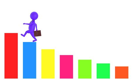 3d purple character holding a briefcase and wallking on the top of a increasng statitics bar graph -3d rendering