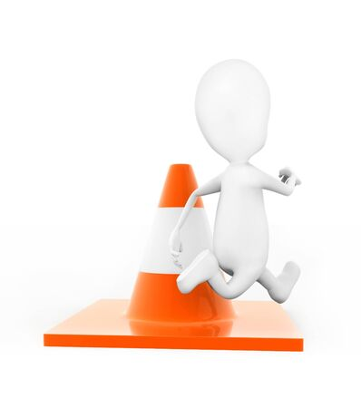 3d man jumping over traffic cone concept in white isolated background , back angle view