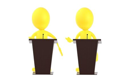 3d yellow character , character in a podium - 3d rendering Reklamní fotografie