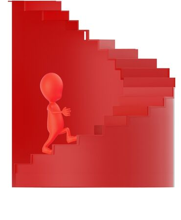 3d red character walking up on spiral stairs - 3d rendering 版權商用圖片