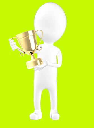 3d white character holding a trophy -green background- 3d rendering