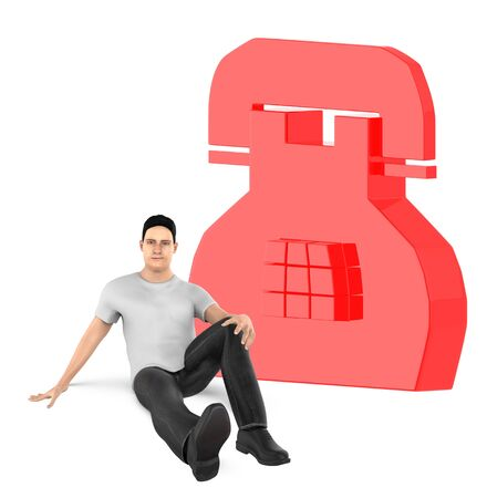 3d character , man and telephone sign - 3d rendering