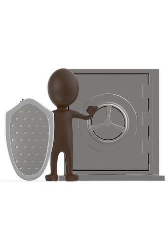 3d brown character with a shield protecting a locker- 3d rendering Stock Photo