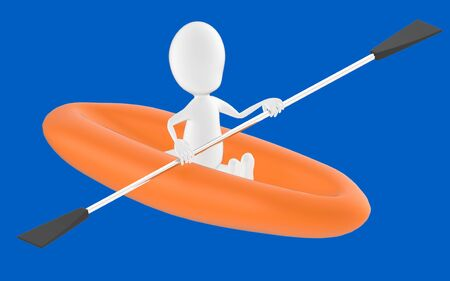 3d white character , rowing a boat -blue background- 3d rendering