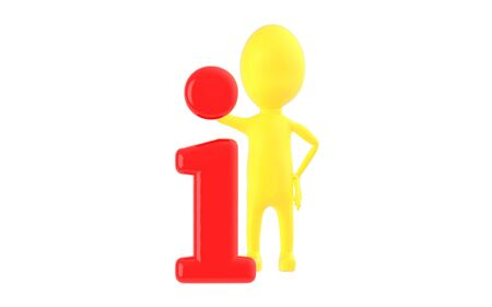 3d yellow character leaning on information icon - 3d rendering