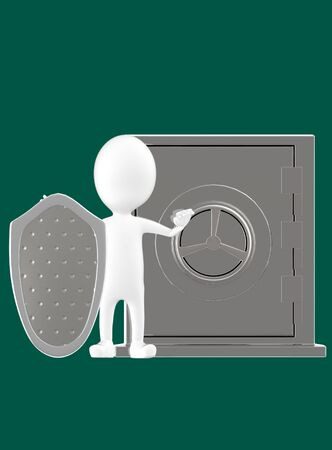 3d white character with a shield protecting a locker- dark cyan background- 3d rendering
