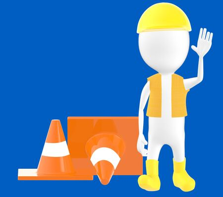3d white character work men showing stop gesture , traffic cones behind -blue background- 3d rendering Stock Photo