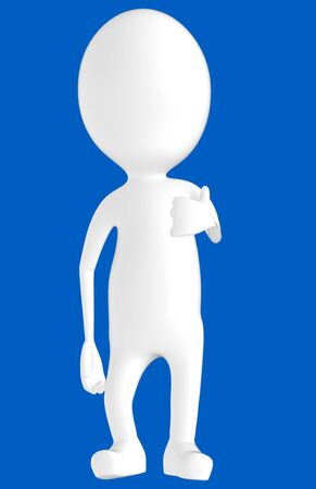 3d white character showing thumbs up hand gesture -blue background- 3d rendering