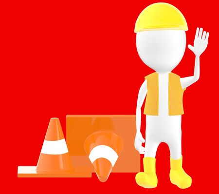 3d white character work men showing stop gesture , traffic cones behind -red background- 3d rendering Stock Photo