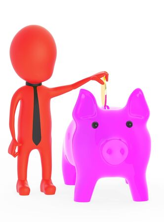 3d red character inserting golden coin to piggy bank - 3d rendering