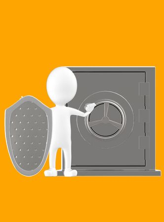 3d white character with a shield protecting a locker- orange background- 3d rendering Stock Photo