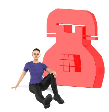 3d character , woman and telephone sign - 3d rendering Stock fotó