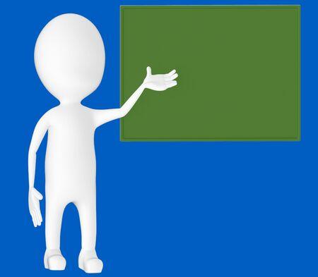 3d white character , explaing,blank board -blue background- 3d rendering Zdjęcie Seryjne