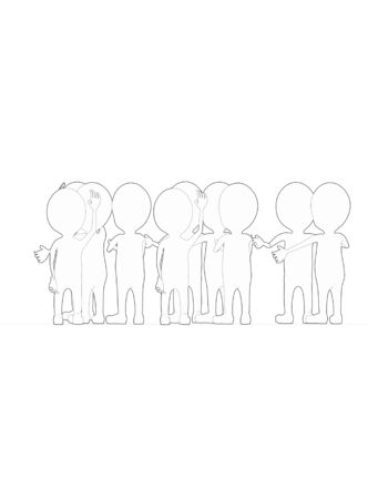 3d white outlined character crowd disccussion- 3d rendering