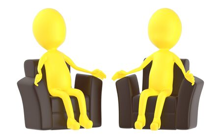 3d yellow character , sitting in a sofa - 3d rendering