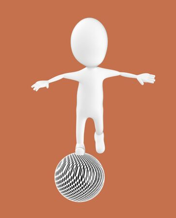 3d white character , balancing on a ball -brown background- 3d rendering