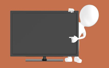 3d white character , pointing his hand towards television screen -brown background- 3d rendering Zdjęcie Seryjne