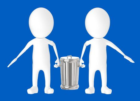 3d white character - two character carrying recycle bin -blue background- 3d rendering