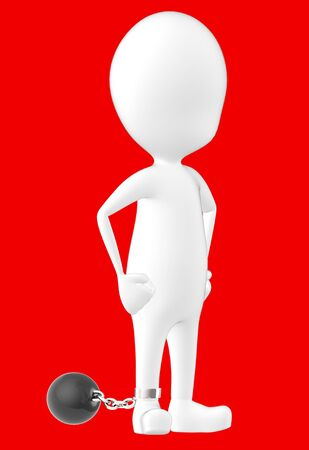 3d white character , leg tied to a weight -red background- 3d rendering