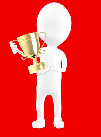 3d white character holding a trophy -red background- 3d rendering