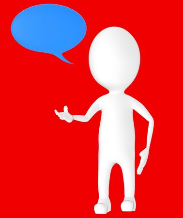 3d white character, speech bubble -red background- 3d rendering