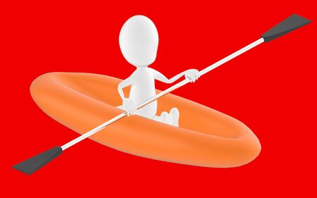 3d white character , rowing a boat -red background- 3d rendering 스톡 콘텐츠
