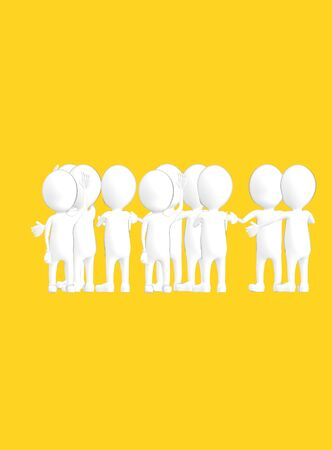 3d white outlined character crowd disccussion- yellow background - 3d rendering Zdjęcie Seryjne