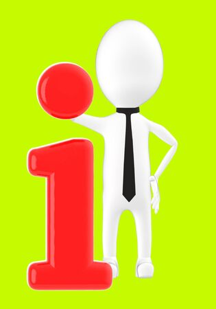 3d white character leaning on information icon -green background- 3d rendering 写真素材