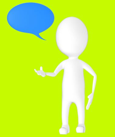 3d white character, speech bubble -green background- 3d rendering