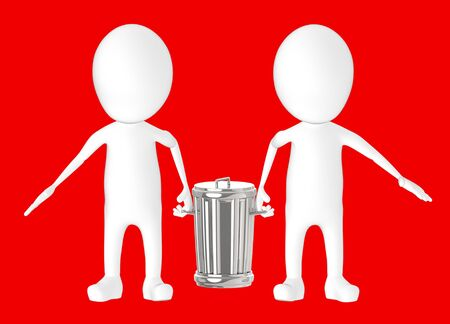 3d white character - two character carrying recycle bin -red background- 3d rendering Фото со стока