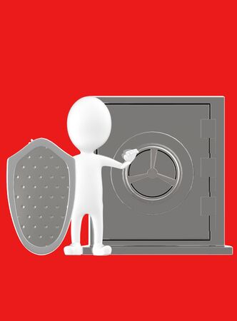 3d white character with a shield protecting a locker- red background - 3d rendering