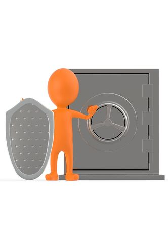 3d orange character with a shield protecting a locker- 3d rendering