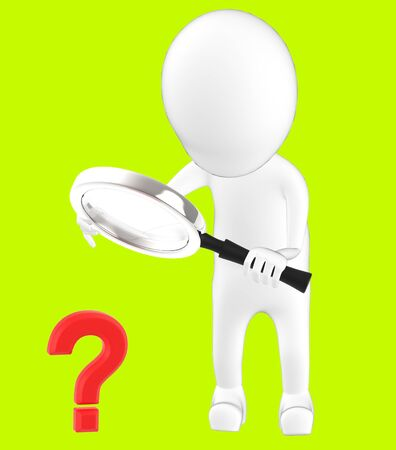 3d white character holding a magnifier in hands and looking question mark through it -green background- 3d rendering