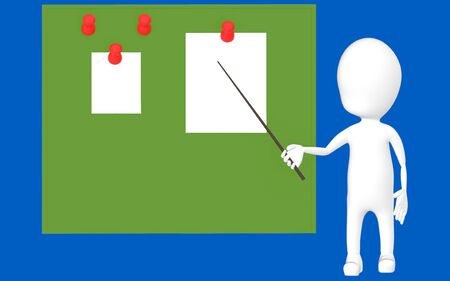 3d white character holding a stick and pointing it towards a green board with pinned papers -blue background- 3d rendering