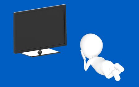 3d white character lying on floor and watching television -blue background- 3d rendering