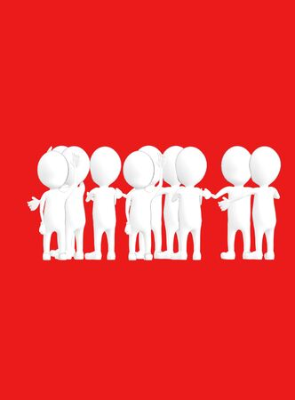 3d white outlined character crowd disccussion- red background - 3d rendering