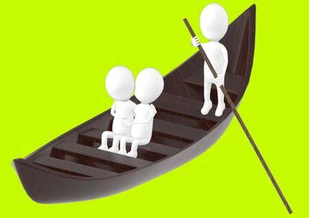3d white character , couples on boat , while another characer rowing the boat -green background- 3d rendering 스톡 콘텐츠